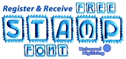 Register & Receive a Free Stamp Font!