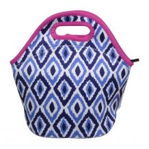 The Coral Palms® Neoprene Lunch Tote - Blue Ikat Ogee Collection