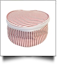 Seersucker Round Jewelry Case Embroidery Blanks - RED