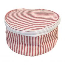 Seersucker Round Jewelry Case Embroidery Blanks - RED - CLOSEOUT