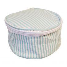 Seersucker Round Jewelry Case Embroidery Blanks - AQUA - CLOSEOUT