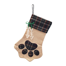 The Coral Palms� Farmhouse Plaid Paw Print Pet Christmas Stocking with Cat Bones - CLOSEOUT