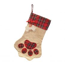 The Coral Palms� Farmhouse Plaid Paw Print Pet Christmas Stocking with Dog Bones - CLOSEOUT