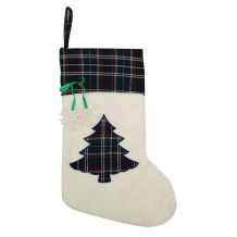 Plaid Christmas Tree Applique Christmas Stocking - NAVY - CLOSEOUT