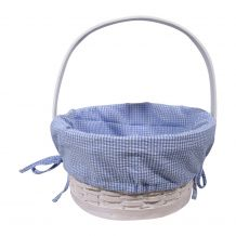 Gingham Easter Basket Liner With Side Ties - BLUE