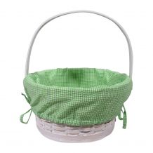 Gingham Easter Basket Liner With Side Ties - LIME