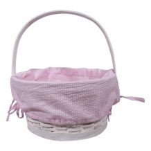 Gingham Easter Basket Liner With Side Ties - PINK