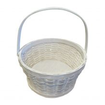 White Swing Handle Wooden Easter Basket
