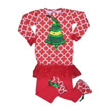 Applique Christmas Tree Top in Red Quatrefoil Print with Ruffles and Matching Pants Set - CLOSEOUT