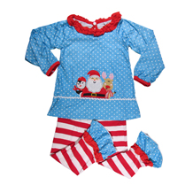 Applique Sanda and Friends in Polka Dots and Stripes with Ruffles and Matching Pants Set - CLOSEOUT