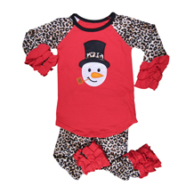 Applique Raglan Snowman Shirt in Red and Leopard Print with Ruffles and Matching Pants Set - CLOSEOUT