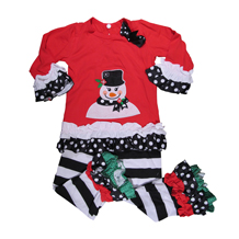 Applique Snowman Shirt in Red and Polka Dot Print with Ruffles and Matching Pants Set - CLOSEOUT