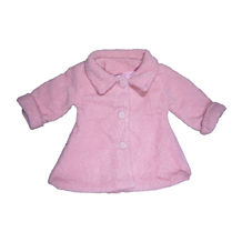 Kids Fuzzy Teddy Pea Coat - PINK - CLOSEOUT