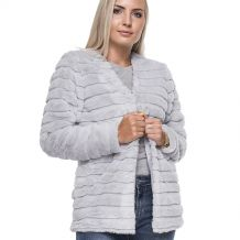 The Coral Palms® Open Front Faux Rabbit Fur Cardigan Jacket - GRAY