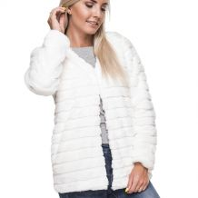 The Coral Palms® Open Front Faux Rabbit Fur Cardigan Jacket - IVORY