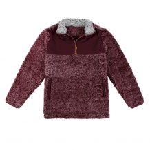 The Coral Palms® Kids Frosted Sherpa Quarter-Zip Pocket Pullover - WINE - CLOSEOUT