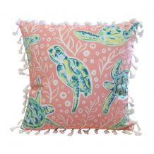 "The Coral Palms® 16"" Tassel Premium Canvas Throw Pillow Cover - Solely Sea Turtles Collection - CLOSEOUT"