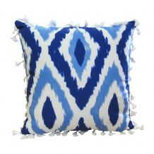 """The Coral Palms® 16"""" Tassel Premium Canvas Throw Pillow Cover - Blue Ikat Ogee Collection - CLOSEOUT"""