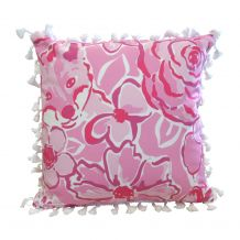 """The Coral Palms® 16"""" Tassel Premium Canvas Throw Pillow Cover - Foxy Floral Collection - CLOSEOUT"""