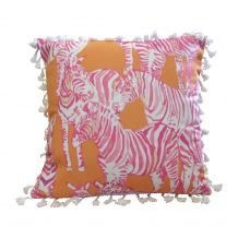 """The Coral Palms® 16"""" Tassel Premium Canvas Throw Pillow Cover - So Zebralicious Collection - CLOSEOUT"""