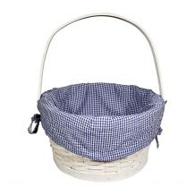 Gingham Easter Basket Liner With Side Ties - NAVY
