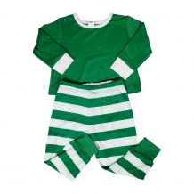 Children's Striped Christmas Pajamas - GREEN - CLOSEOUT