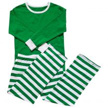 Adult Striped Christmas Pajamas - GREEN - CLOSEOUT