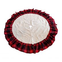 "Simple Elegance 54"" Ivory Plush Christmas Tree Skirt with Plaid Ruffle - CLOSEOUT"