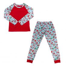 The Coral Palms� Ultra-Soft Adults 3/4 Raglan Sleeve Santa Christmas Pajamas - CLOSEOUT