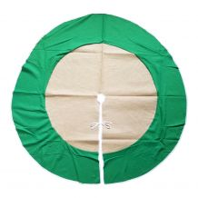 "Simple Elegance 48"" Burlap Christmas Tree Skirt - GREEN TRIM - CLOSEOUT"
