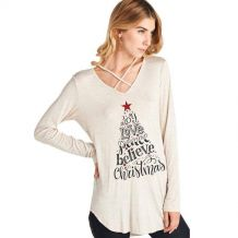 Joy Love Peace Believe Christmas - Cross Neck Long Sleeve Tunic - CREAM - CLOSEOUT