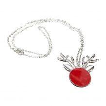Silver-Tone Reindeer Medallion Necklace - RED - CLOSEOUT