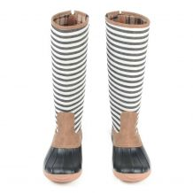 The Coral Palms� Ladies Designer Zip Back Matte Tall Duck Boots - STRIPE - CLOSEOUT