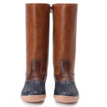 The Coral Palms� Ladies Lace Back Matte Tall Duck Boots - NAVY - CLOSEOUT