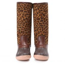 The Coral Palms� Ladies Designer Lace Back Matte Tall Duck Boots - LEOPARD - CLOSEOUT