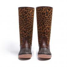 The Coral Palms� Ladies Designer Zip Back Matte Tall Duck Boots - LEOPARD - CLOSEOUT