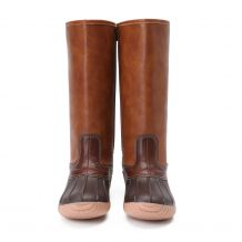 The Coral Palms� Ladies Lace Back Matte Tall Duck Boots - BROWN - CLOSEOUT