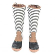The Coral Palms� Ladies Designer Lace Back Matte Tall Duck Boots - STRIPE - CLOSEOUT