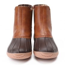 The Coral Palms� Ladies Slip-On Matte Duck Boot Booties - BROWN - CLOSEOUT