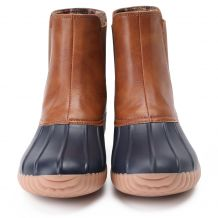 The Coral Palms� Ladies Slip-On Matte Duck Boot Booties - NAVY - CLOSEOUT