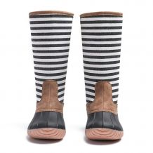 The Coral Palms� Kids Designer Zip Back Matte Tall Duck Boots - STRIPE - CLOSEOUT