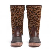 The Coral Palms� Kids Designer Lace Back Matte Tall Duck Boots - LEOPARD - CLOSEOUT