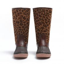 The Coral Palms� Kids Designer Zip Back Matte Tall Duck Boots - LEOPARD - CLOSEOUT