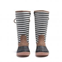 The Coral Palms� Kids Designer Lace Back Matte Tall Duck Boots - STRIPE - CLOSEOUT