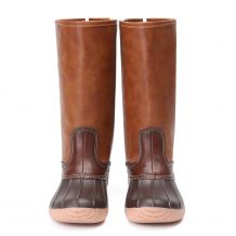 The Coral Palms� Kids Zip Back Matte Tall Duck Boots - BROWN - CLOSEOUT