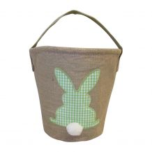 Burlap Easter Basket Tote With Applique Gingham Bunny - GREEN - CLOSEOUT