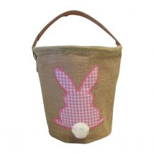 Burlap Easter Basket Tote With Applique Gingham Bunny - PINK - CLOSEOUT