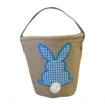 Burlap Easter Basket Tote With Applique Gingham Bunny - TURQUOISE - CLOSEOUT