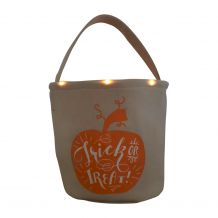 The Coral Palms� Light-Up Monogrammable Halloween Trick or Treat Bucket Tote - PUMPKIN