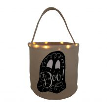 The Coral Palms� Light-Up Monogrammable Halloween Trick or Treat Bucket Tote - GHOST
